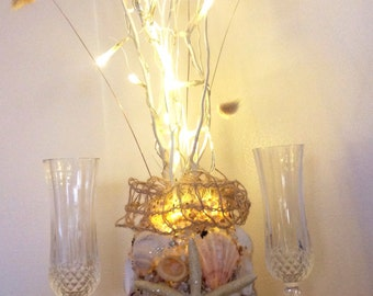 Nautical Starfish Decor, Seashell Centerpiece, Shell Vase