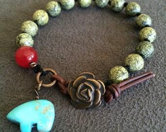 Tiny Turquoise Bear Totem Bracelet w/ Green Agate Beads Leather & Rose Closure Sundance Style