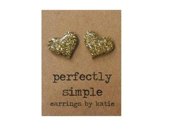 GOLD glitter heart stud earrings