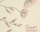 Rowan tree frameable embroidery art baby nursery folklore tree of life