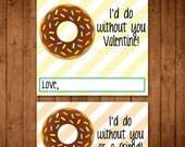 Printable Donut Valentine Tags & Cards