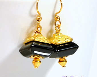 Black Gold Earrings, Small Dangle Earrings, 1 inch Onyx Gold Drop
