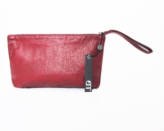 Bordeaux red leather clutch purse SALE soft leather purse - wristlet cash envelope wallet purse - large wallet purse - handmade clucth bag