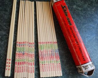 Shin-San Imitation Ivory Chopsticks, 3 patterns, 21 chopsticks, in Original Box, Taiwan