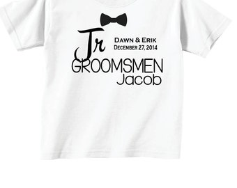 Junior Groomsmen Shirts with Dates and Bowtie for Wedding Party Tees