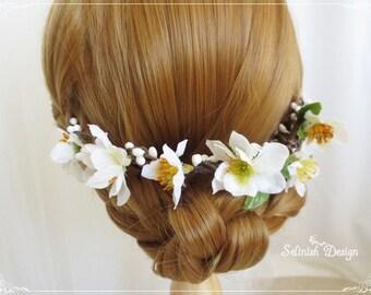 Floral Wedding Hair Piece, Flower Crown, Flower Halo -HB153halo