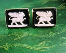 Large cameo Griffin Cufflinks Vintage Winged Lion Guardian Gothic Medieval Mythical cameo Men's Beast Clothing mythology Accessory
