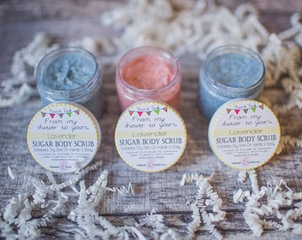 15 Sugar Scrub Party Favors - From My Shower To Yours - Baby Shower & Bridal Shower Favors in Pink or Blue