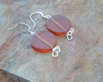 Amber colored, round Dangle earrings