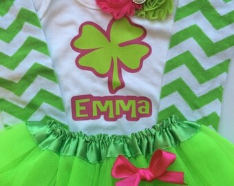TODDLER girl St. Patricks Day Outfit -toddler st patricks day outfit - clover outfit - personalized baby girl outfit - green leg warmers
