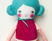 Handmade Cloth Doll with Turquoise Hair, Art Doll, Rag Doll Valentine's Day