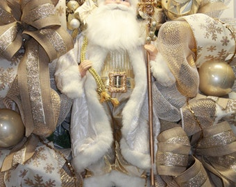 Elegant Gold Christmas Santa Wreath