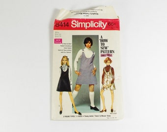 Simplicity 8414 - Vintage 1969 How To Sew Jumper in Two Lengths for Young Junior Teens and Misses Size 12
