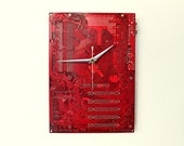 Dark Red Modern Wall Clock - Industrial Decor and Housewares - Unique Circuit board Motherboard Clock