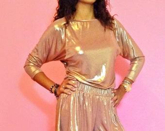 Metallic Copper Gold Glam Celebrity Dolman Sleeve Tunic Top Size XS - S - M - L