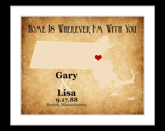 Wedding gift for couples, custom home state sign, wall art print, Any or massachusetts map, massachusetts art  hometown boston ma wall decor
