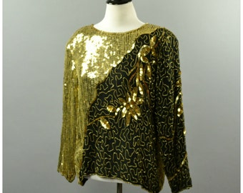 1980s Black Gold Sequin Blouse