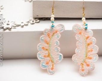 Lace earrings, Hand painted lace, pink earrings, romantic jewelry, original earrings, dangle earrings, wedding jewelry, dutch jewelry
