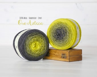 2 Hand Dyed Yarn Balls - 100% Wool - Color: Oro Azteca Ombre - 1Ply Sport Yarn - Colorful Soft Yarns by Freia - 2 Balls - Gradient Yarn