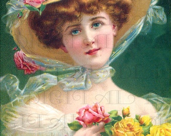 Everything's Coming Up Roses! Vintage Victorian Lady Illustration. Digital Download. Victorian Lady Printable Image.