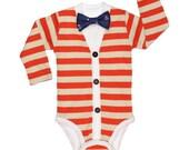 Baby Cardigan Onesie and Bow Tie Set - Trendy Baby Boy - Orange and Oat - Cardigan Onesie