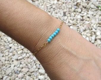 Turquoise gold bracelet, Beaded bar bracelet, December birthstone jewelry