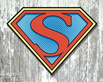 "Superhero Initial ""S"" Sign Large 26""X20"" DIY Printable Instant Download"