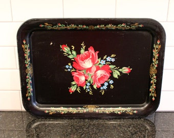 Rosy Outlook... Vintage 1950s Metal Serving Tray - Black with Red Roses and Blue Forget-me-nots