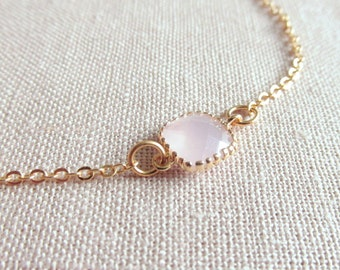 Pale Pink Gold Bracelet, Glass Crystal Stone, Dainty Jewelry, Minimalist, Bridal Everyday