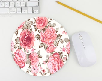 Mouse Pad / Floral Pink Mouse Pad / Flower Mousepad / Mat