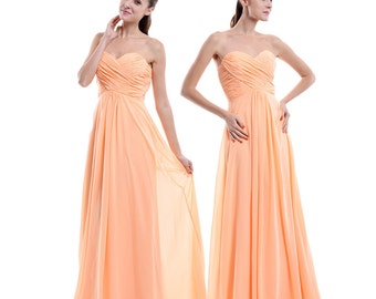 Peach Bridesmaid Dress, Empire Sweetheart Long Chiffon Bridesmaid Dress