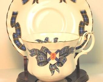 Vintage Tea Cup and Saucer Nova Scotia Tartan Royal Albert Bone China