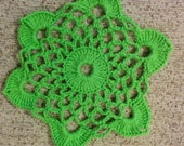 Small lace round oval green table doily napkin cover placemat centerpiece