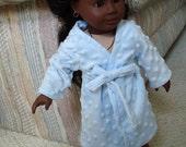 """Blue Bathrobe for American Girl Doll Handmade Fleece Polka Dot for all 18"""" Dolls"""
