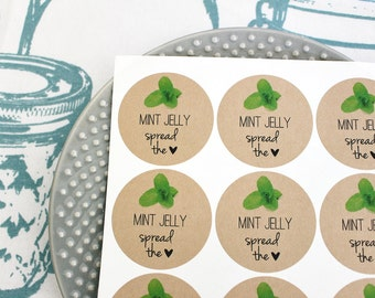 60 Mint Jelly Spread the Love Mason Jar Labels Canning Labels Christmas Gift Wrap Food Labels Gift Rustic Round Labels Stickers