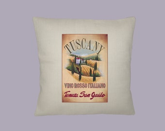 Vintage Tuscany Travel Poster, Vino Rosso, Wine Handmade  16x16 Pillow Cover - Choice of Fabric