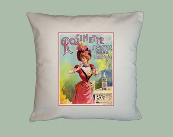 Vintage French Absinthe Rosinette Rose Poster HANDMADE 16x16 Pillow Cover - Choice of Fabric