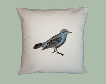 Bluebird Vintage Illustration 16x16 Handmade Pillow Cover - Choice of Fabric