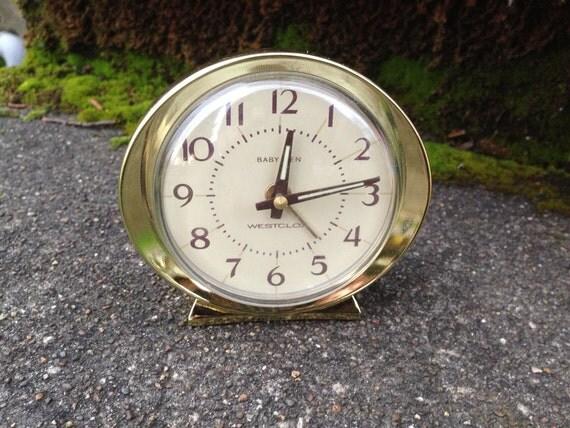 Westclox Baby Ben Travel Alarm Clock Gold Rim By