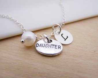 Daughter Charm Swarovski Birthstone Initial Personalized Sterling Silver Necklace / Gift for Her