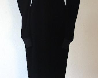 Gorgeous Vintage 1970s Fendi Black Velvet Dress