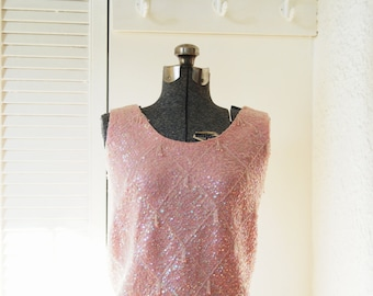 Pink, beaded, 1960s shell top. Size S to M.