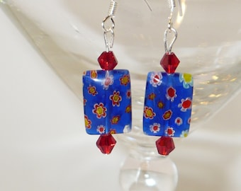 Cobalt blue Millefiori glass bead earringswith red and white flowers.