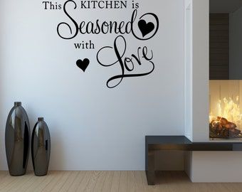 Wall Quotes This Kitchen Is Seasoned With Love Vinyl Wall Decal Quote Removable Kitchen Wall Sticker Home Decor (VK2)