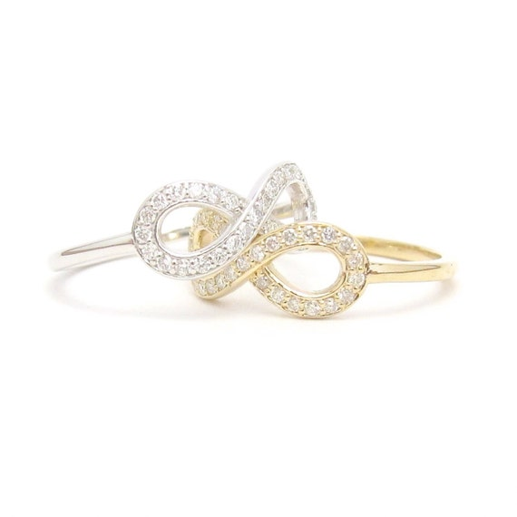Small 14k Gold Diamond Infinity Ring 14k white yellow or