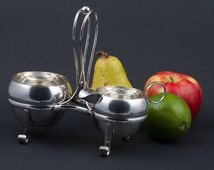 Mappin and Webb Silver Plate Creamer and Sugar Caddy