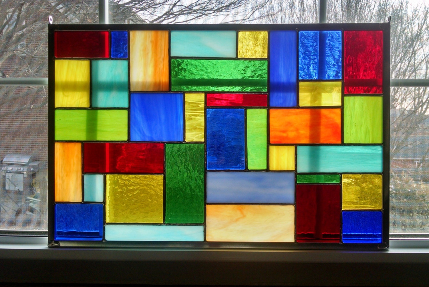 Stained glass window panel modern geometric color burst ii for Modern glass window design