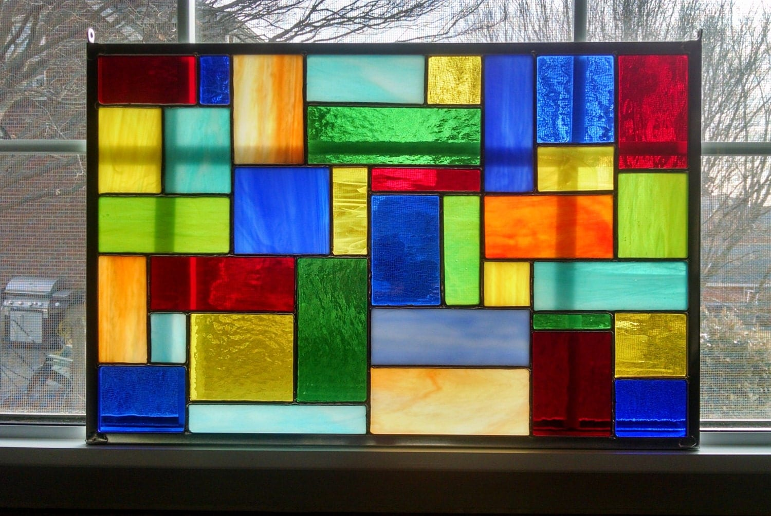 Stained Glass Window Panel Modern Geometric Color Burst II