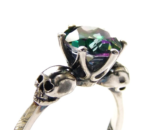 Gothic Skull Engagement Ring and Band Set – Round Cut Mystic Topaz Ring and Band Engagement Bridal Set Anniversary Wedding Handfasting Ring