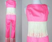 Vintage 60s Bright Pink Silk Jumpsuit Set w/ Long Fringed Bellbottom Pants + Cropped Bra Top. Boho Mod Wild Gogo Dress Romper. Extra Small 0